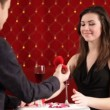 Boy giving a ring to his girlfriend on the Valentine day — Stock Video