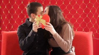 Couple kissing behind heart shaped gift box — Stock Video