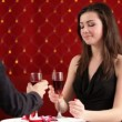 Dinner. Young couple celebrate valentines day for a romantic dinner. — Vídeo Stock