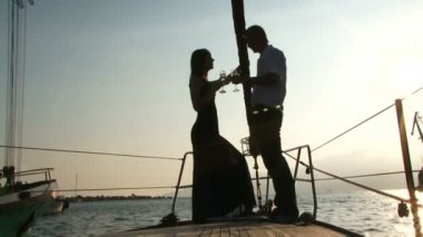 Romantic Date On A Yacht — Stock Video