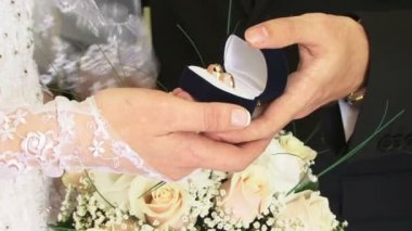 Bride and groom holding wedding rings — Stock Video