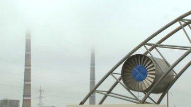 Chimneys And Turbine — Stock Video