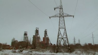 Powerlines Of An Industrial City — Stock Video