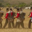 CRIMEA, UKRAINE  SEPTEMBER 29, 2012: Russian soldiers prepare for a battle during reenactment of Battle of Alma (Crimean War 1853 - 1856) on a historical festival in Crimea. — Stock Video
