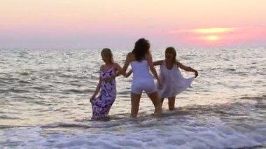 Vänner som umgås nära havet i solnedgången — Stockvideo