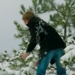 Couple playing snowballs in pine forest — Stock Video