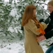 Couple in love in a snowy forest. Couple in a forest. Slow motion. — Stock Video