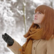 Happy and smiling winter girl outdoors in pinewood — Stock Video #29676051