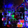 Chemical tubes and glasses on disco — Stock Video #30017427