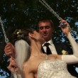 Wideo stockowe: Newlywed couple in park.