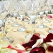 Table with glasses for wedding. — Stock Video