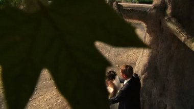 Bride and groom swinging in a park. — Vídeo Stock