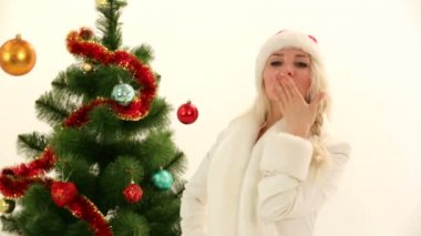 Woman expressing the joy of Christmas. Merry Christmas. — Stock Video