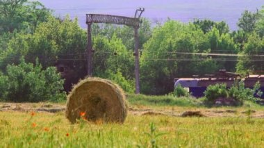 Tractor working in a field on a sunny day. Tractor in a field. — Stock Video