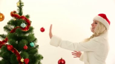 Woman in a costume of Santa celebrating Christmas. Christmas costume. — Stock Video