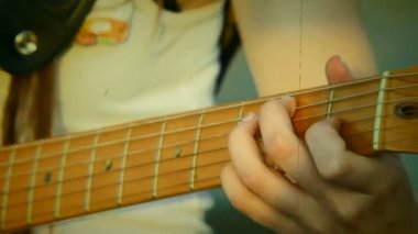 Playing guitar chords. Close-up. Old movie. Guitar chords. Old movie. — Stock Video