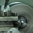Turn bench cutting metal. Close-up. Turn bench cutting — Stock Video #38854807