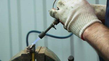 Soldering parts of auto. Close-up. Repairman soldering — Stock Video