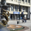 Bronze statue on the square in Malmo — Stock Photo