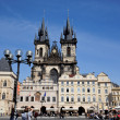 Prague, old town square, tyn church — Stock Photo #12573951
