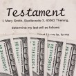 U.s. dollars bills and english testament — Stock Photo