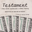 U.s. dollars bills and english testament — Stock Photo #12574336
