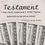 U.s. dollars bills and english testament — Stock Photo