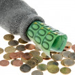 Stock Photo: Piggy bank with euro banknotes and euro