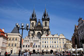 Prague, old town square, tyn church — Stock Photo