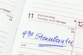 Entry in the calendar: accountants — Stock Photo