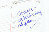 Entry in the calendar: make tax return — Foto de Stock