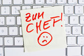 Note on computer keyboard: for chief — Stock Photo