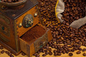 Coffee. coffee beans and coffee grinder — Stock Photo