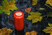 Lehké hrob na den všech svatých na podzim se listy — Stock fotografie