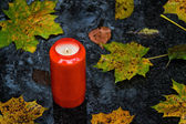 Light grave on all saints day in the fall with leaves — Stock Photo
