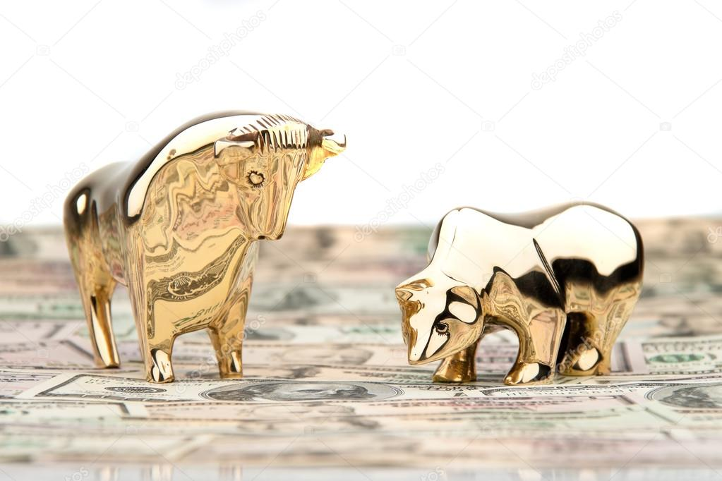Many dollar bills with bull and bear — Stock Photo #12574438