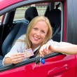 Young woman with driving license — Stock Photo