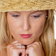 Stock Photo: Womwith straw hat