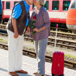Mature aged couple at the train station — Stock Photo
