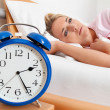 Clock with sleepless at night. — Stock Photo