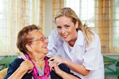 Home care of the old lady — Stok fotoğraf