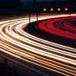 Cars on freeway at night — Stok fotoğraf