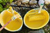 Paint bucket of painter — Stock Photo