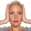 Woman holding her ears — Stock Photo #14049584