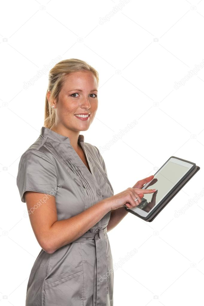 Young business woman using a tablet computer. with modern electronics can communicate anytime and anywhere — Stock Photo #14049489