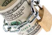 U.s. dollar bills are locked with a lock — Foto Stock