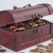 Stock Photo: Treasure chest with euro coins