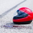 Accident with a motorcycle. traffic accident and skid marks — Stock Photo