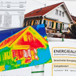 Save energy. house with thermal imaging camera — Stock fotografie #14870975