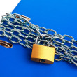 File folders locked with chain - Stock Photo